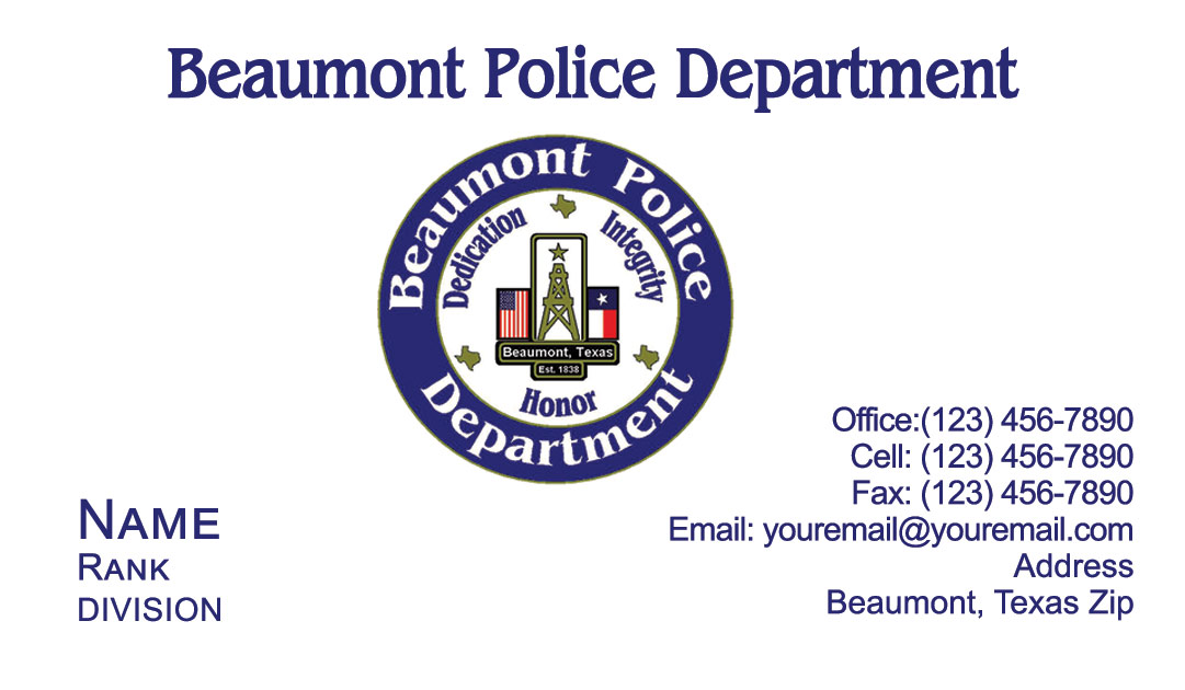 Beaumont Police Department Business Cards