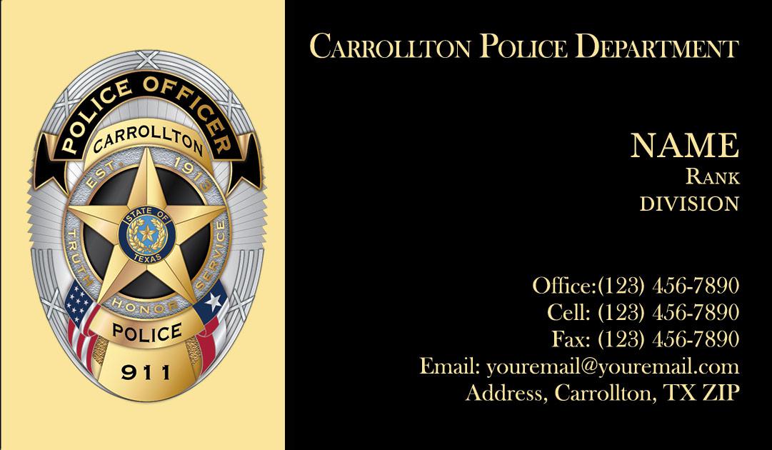 Carrollton Police Department Business Cards