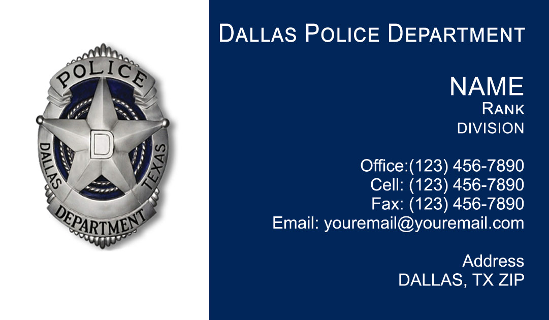 Dallas Police Department Business Cards
