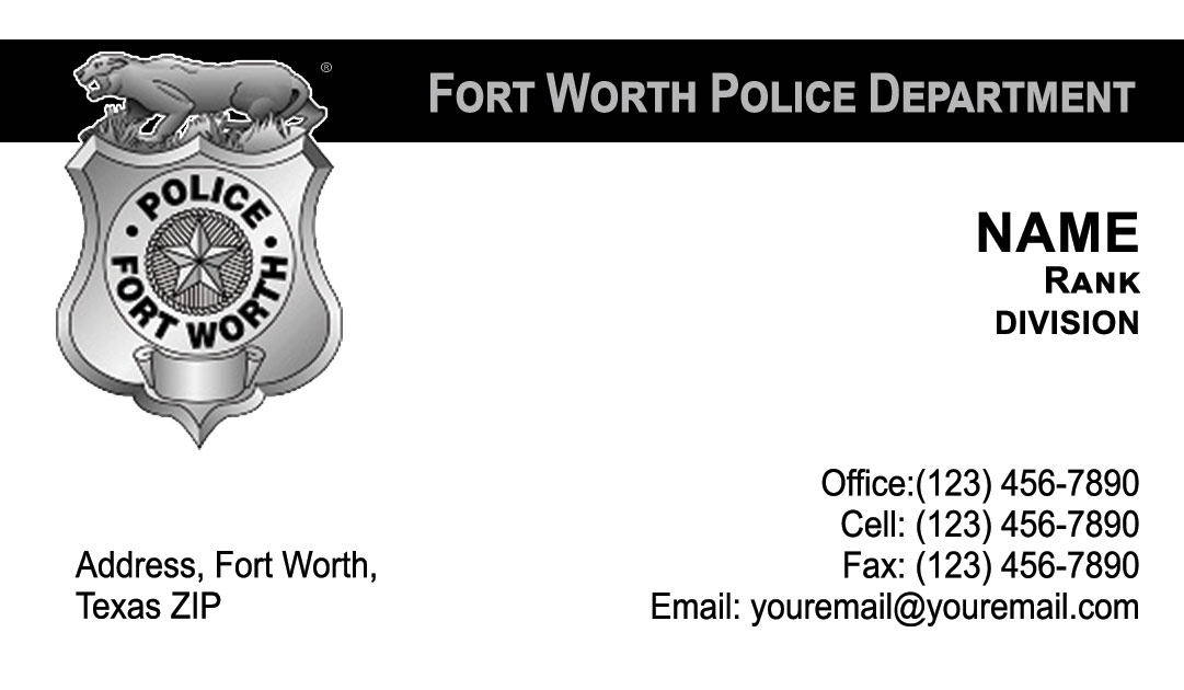 Fort Worth Police Department Business Cards